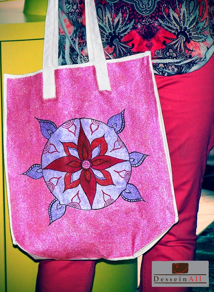 Handpainted shoulder bag